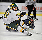 15 February 2008: University of Vermont Catamounts' forward Corey Carlson, a Junior from Two Harbors, MN, in action against the Merrimack College Warriors at Gutterson Fieldhouse in Burlington, Vermont. The Catamounts defeated the Warriors 4-1 in the first game of their 2-game weekend series...Mandatory Photo Credit: Ed Wolfstein Photo