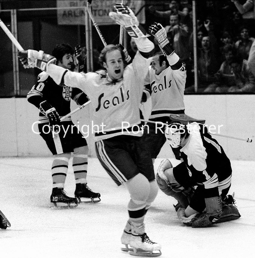 Seals Stan Gilbertson scores goal against the Bobton Bruins goalie Ed Johnston. (1971 photo/Ron Riesterer)