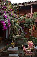 Courtyard of a small hostel, Old City, Lijiang, Yunnan, China. 10 November 2012.