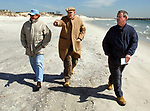 POINT LOOKOUT-MARCH 21, 2006: Herb Abbe, President of the Point Lookout Civic Association and  Gerald Ottavino, Chairman of the group's Beach and Environment Committee, together with Newsday Reporter, Bill Murphy, touring sites potentially threatened by erosion in the event of a severe storm along the ocean beach side of Point Lookout on Tuesday March 21, 2006. (Newsday Photo / Jim Peppler).