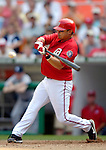 17 June 2006: Jose Vidro (left), second baseman for the Washington Nationals, at bat against the New York Yankees at RFK Stadium, in Washington, DC. The Nationals overcame a seven run deficit to win 11-9 in the second game of the interleague series...Mandatory Photo Credit: Ed Wolfstein Photo...