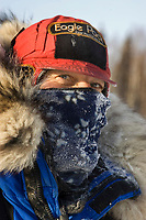 Closeup portrait of musher Hans Gatt frosted up after run to McGrath 2006 Iditarod Interior AK Winter