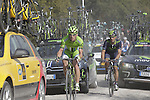 Maciej Bodnar (POL) and Francisco J. Ventoso Alberdi (ESP) stuck among the team cars on the 5th sector of strade near Murlo during the 2014 Strade Bianche race over the white dusty gravel roads of Tuscany running from San Gimignano to Siena, Italy. 8th March 2014.<br /> Picture: Eoin Clarke www.newsfile.ie