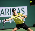 March 11, 2019: Hubert Hurkacz (POL) in action where he was defeated by Roger Federer (SUI) 6-4, 6-4 at the BNP Paribas Open at the Indian Wells Tennis Garden in Indian Wells, California. ©Mal Taam/TennisClix/CSM