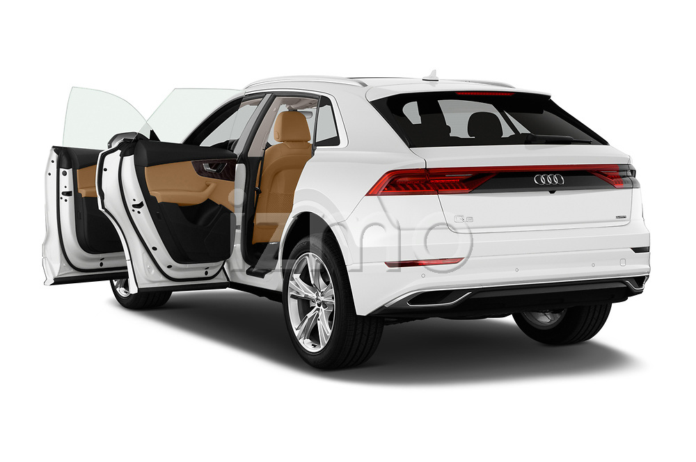 Car images close up view of a 2019 Audi q8 Premium Plus 5 Door SUV doors