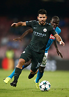 Football Soccer: UEFA Champions League Napoli vs Mabchester City San Paolo stadium Naples, Italy, November 1, 2017. <br /> Manchester City's Sergio Aguero in action during the Uefa Champions League football soccer match between Napoli and Manchester City at San Paolo stadium, November 1, 2017.<br /> UPDATE IMAGES PRESS/Isabella Bonotto