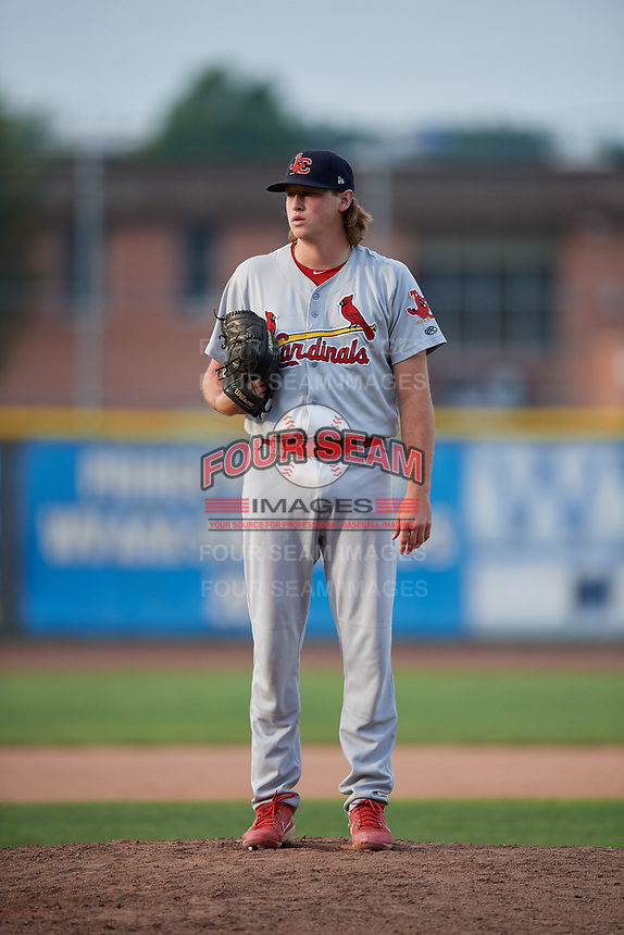 Johnson City Cardinals relief pitcher Evan Sisk (22) looks in for the sign during the first game of a doubleheader against the Princeton Rays on August 17, 2018 at Hunnicutt Field in Princeton, Virginia.  Johnson City defeated Princeton 6-4.  (Mike Janes/Four Seam Images)