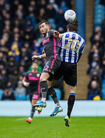 Leeds United's Jack Harrison (left) competing in the air with Sheffield Wednesday's Adam Reach <br /> <br /> Photographer Andrew Kearns/CameraSport<br /> <br /> The EFL Sky Bet Championship - Sheffield Wednesday v Leeds United - Saturday 26th October 2019 - Hillsborough - Sheffield<br /> <br /> World Copyright © 2019 CameraSport. All rights reserved. 43 Linden Ave. Countesthorpe. Leicester. England. LE8 5PG - Tel: +44 (0) 116 277 4147 - admin@camerasport.com - www.camerasport.com