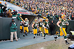 Green Bay Packers run onto the field prior to an NFL divisional playoff football game against the New York Giants on January 15, 2012 in Green Bay, Wisconsin. The Giants won 37-20. (AP Photo/David Stluka)