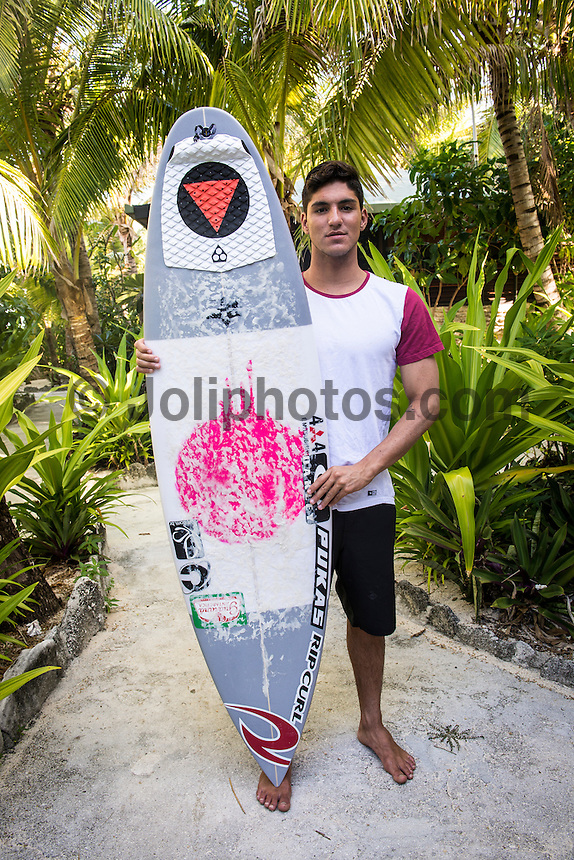 Namotu Island Resort, Namotu, Fiji. (Sunday June 4, 2014) Gabriel Medina's (BRA)  winning surfboard from the Fiji Pro 2014 – There were light winds sunshine all day but very little swell. Photo: joliphotos.com