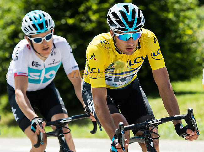 Race leader Gianni Moscon (ITA) Yellow Jersey and Geraint Thomas (WAL) Team Sky during Stage 5 of the 2018 Criterium du Dauphine 2018 running 130km from Grenoble to Valmorel, France. 8th June 2018.<br /> Picture: ASO/Alex Broadway | Cyclefile<br /> <br /> <br /> All photos usage must carry mandatory copyright credit (© Cyclefile | ASO/Alex Broadway)