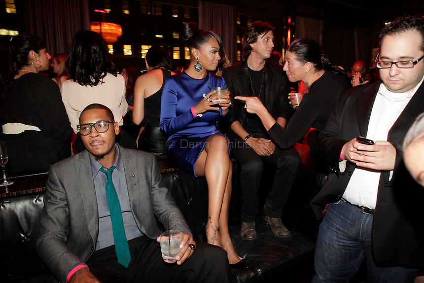 NY Knicks Forward Carmelo Anthony, TV star La La, and Jonathan Cheban at the Us Weekly party at the Dream Downtown hotel's rooftop bar PH-D for its 2011 most stylish New Yorkers on Wednesday, Sept 14, 2011. ..Danny Ghitis for The New York Times