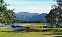 The spectacular 10th green surround by Lough Lein on the Killeen Course  at Killarney Golf and Fishing Club home of the 3 Irish Open from July 29-Aug 1st.<br /> Picture by Don MacMonagle