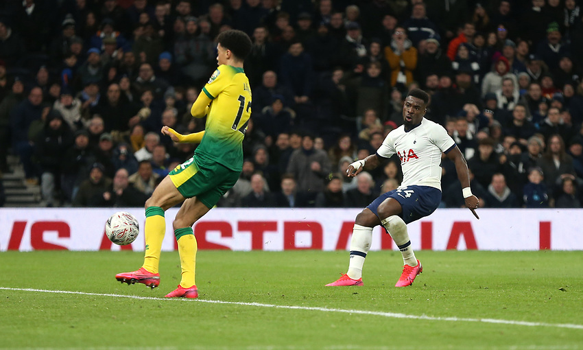 Tottenham Hotspur's Serge Aurier with a shot at goal<br /> <br /> Photographer Rob Newell/CameraSport<br /> <br /> The Emirates FA Cup Fifth Round - Tottenham Hotspur v Norwich City - Wednesday 4th March 2020 - Tottenham Hotspur Stadium - London<br />  <br /> World Copyright © 2020 CameraSport. All rights reserved. 43 Linden Ave. Countesthorpe. Leicester. England. LE8 5PG - Tel: +44 (0) 116 277 4147 - admin@camerasport.com - www.camerasport.com