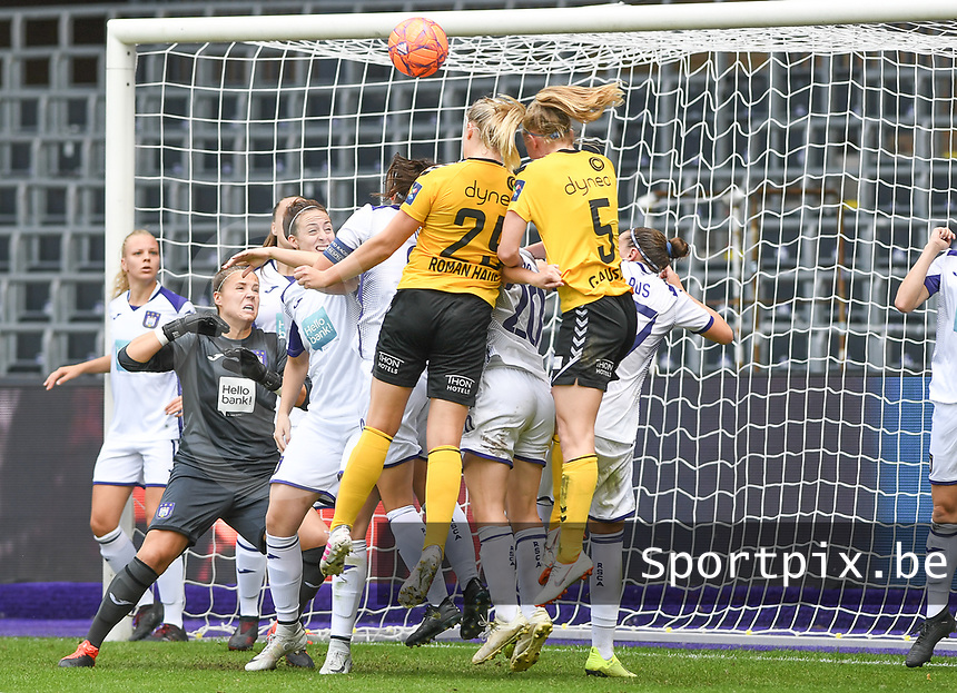 20190810 - ANDERLECHT, BELGIUM : LSK's Ina Gausdal (5) pictured scoring the 1-0  during the female soccer game between the Belgian RSCA Ladies – Royal Sporting Club Anderlecht Dames  and the Norwegian LSK Kvinner Fotballklubb ladies , the second game for both teams in the Uefa Womens Champions League Qualifying round in group 8 , saturday 10 th August 2019 at the Lotto Park Stadium in Anderlecht  , Belgium  .  PHOTO SPORTPIX.BE for NTB NO | DAVID CATRY