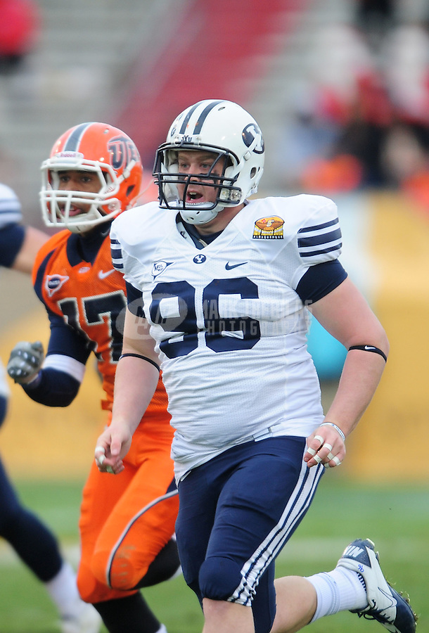 Dec. 18, 2010; Albuquerque, NM, USA; BYU Cougars deep snapper Reed Hornung against the UTEP Miners in the 2010 New Mexico Bowl at University Stadium. BYU defeated UTEP 52-24. Mandatory Credit: Mark J. Rebilas-