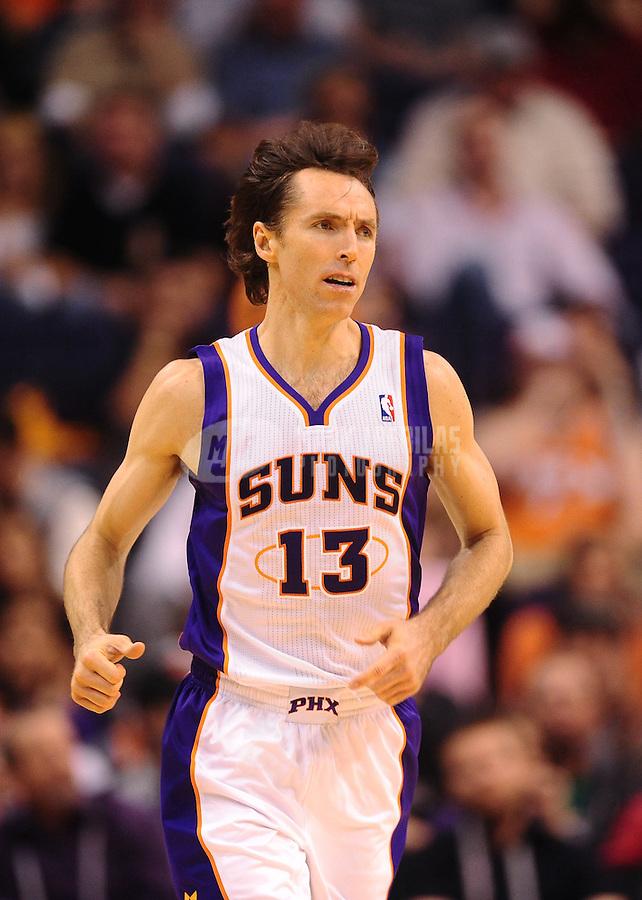 Jan. 28, 2012; Phoenix, AZ, USA; Phoenix Suns guard Steve Nash against the Memphis Grizzlies at the US Airways Center. The Suns defeated the Grizzlies 86-84. Mandatory Credit: Mark J. Rebilas-USA TODAY Sports