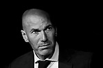 Manager Zinedine Zidane of Real Madrid looks on prior to the La Liga 2017-18 match between Real Madrid and Athletic Club Bilbao  at Estadio Santiago Bernabeu on April 18 2018 in Madrid, Spain. Photo by Diego Souto / Power Sport Images