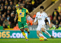 Cameron Jerome of Norwich City and Ki Sung-yueng of Swansea City during the Barclays Premier League match between Norwich City and Swansea City played at Carrow Road, Norwich on November 7th 2015