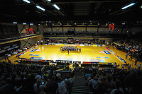 A choir entertains fans at halftime during the ANZ Netball Championship match between the Central Pulse and Waikato Bay Of Plenty Magic at TSB Bank Arena, Wellington, New Zealand on Monday, 30 March 2015. Photo: Dave Lintott / lintottphoto.co.nz