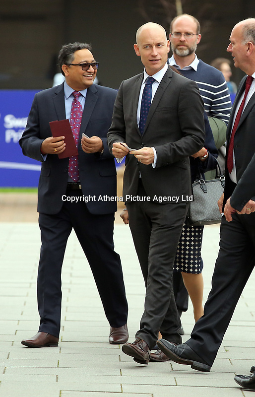 Pictured: Stephen Kinnock, MP for Aberavon arrives at Swansea University Bay Campus. Saturday 14 October 2017<br /> Re: Hillary Clinton, the former US secretary of state and 2016 American presidential candidate will be presented with an honorary doctorate during a ceremony at Swansea University's Bay Campus in Wales, UK, to recognise her commitment to promoting the rights of families and children around the world.<br /> Mrs Clinton's great grandparents were from south Wales.