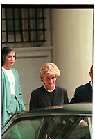 Washington DC., USA, October, 1994.<br /> Diana Princess of Wales leaves the residence of Paulo Tarso Flecha de Lima the Brazilian Ambassador to the United States. Diana is staying with the Ambassador and his wife Lucia on a private visit for the weekend. Credit: Mark Reinstein/MediaPunch