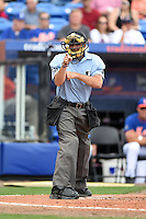 Umpire James Hoye during a spring training game between the Washington Nationals and New York Mets on March 27, 2014 at Tradition Field in St. Lucie, Florida.  Washington defeated New York 4-0.  (Mike Janes/Four Seam Images)