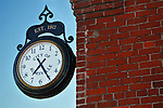 This antique train station style clock is on the old city hall building in Aumsville, OR.