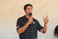 "Stanford - September 13, 2014: Derek Belch, coach, speaks during ""The Chalk Talk"" before Stanford vs Army football game Saturday afternoon at Stanford Stadium.<br /> <br /> Stanford won 35-0."