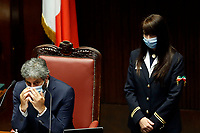 The President of the Chamber of Deputies Roberto Fico wears a face mask during the Question time at the Chamber of Deputies. Rome (Italy), July 1st 2020<br /> Foto Samantha Zucchi Insidefoto