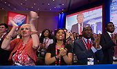 Attendees listen and applaud as United States President Donald J. Trump speaks at the Conservative Political Action Conference (CPAC) at the Gaylord National Resort and Convention Center in National Harbor, Maryland on Friday, February 23, 2018.<br /> Credit: Chris Kleponis / Pool via CNP