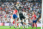 Real Madrid Thibaut Courtois and Raphael Varane and Atletico de Madrid Jose Maria Gimenez during La Liga match between Real Madrid and Atletico de Madrid at Santiago Bernabeu Stadium in Madrid, Spain. September 29, 2018. (ALTERPHOTOS/Borja B.Hojas)