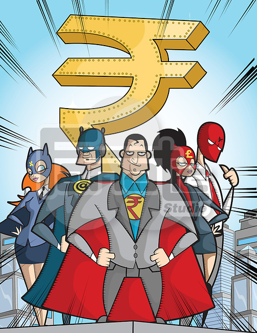 Business super hero with rupee symbol