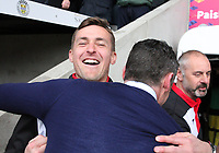 St Mirren Assistant Manager James Fowler celebrates after winning the Scottish Professional Football League Ladbrokes Championship at the Paisley 2021 Stadium, Paisley on 14.4.18.