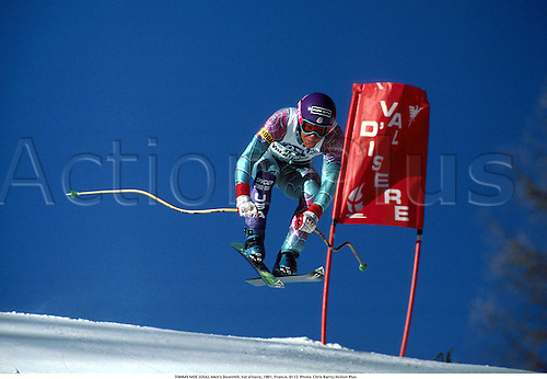 TOMMY MOE (USA), Men's Downhill, Val d'Isere, 1991, France, 9112. Photo: Chris Barry/Action Plus...1991.skiing.winter sport.winter sports.wintersport.wintersports.alpine.ski.skier.man