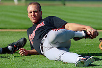 OAKLAND, CA - Cal Ripken Jr. of the Baltimore Orioles stretches before a game against the Oakland Athletics at the Oakland Coliseum in Oakland, California in 1990. Photo by Brad Mangin