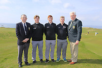 (L to R) Kevin McCarthy Captain Tralee GC and John McLoughney President GUI with the Maynooth University Team winners, Alan Fahy, Ronan Mullarney and Cathal Butler at the final of the Irish Students Amateur Open Championship, Tralee Golf Club, Tralee, Co Kerry, Ireland. 12/04/2018.<br /> Picture: Golffile | Fran Caffrey<br /> <br /> <br /> All photo usage must carry mandatory copyright credit (&copy; Golffile | Fran Caffrey)