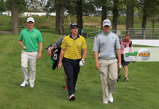 John-Ross Galbraith (AM)(IRL), Paul Dunne (IRL) and Colm CampbellJnr. (AM)(IRL) walking to the 18th during Monday's Practice round of the Dubai Duty Free Irish Open Trophy at The K Club, Straffan, Co. Kildare<br /> Picture: Golffile | Thos Caffrey<br /> <br /> All photo usage must carry mandatory copyright credit <br /> (&copy; Golffile | Thos Caffrey)
