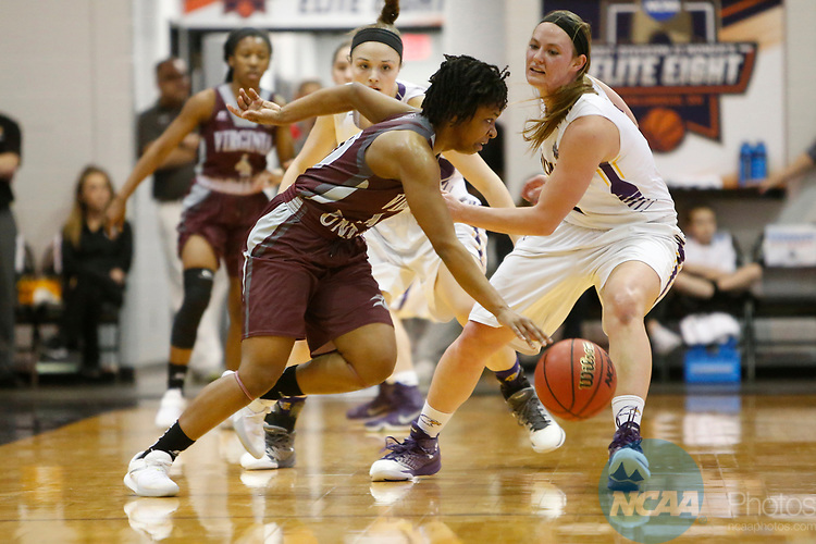 COLUMBUS, OH - MARCH 24: Rejoice Spivey (10) of Virginia Union University brings the ball up court against Laina Snyder (03) of Ashland University during the Division II Women's Basketball Championship held at Alumni Hall on the Ohio Dominican University campus on March 24, 2017 in Columbus, Ohio. Ashland beat Virginia Union 93-77 to win the championship. (Photo by Jay LaPrete/NCAA Photos via Getty Images)