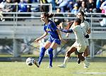 BROOKINGS, SD, OCTOBER 21: Carina McLennan #7 from South Dakota State controls the ball in front of Nelly Mamabolo #8 from Oral Roberts during their match Sunday afternoon at Fischback Soccer Field in Brookings. (Dave Eggen/Inertia)