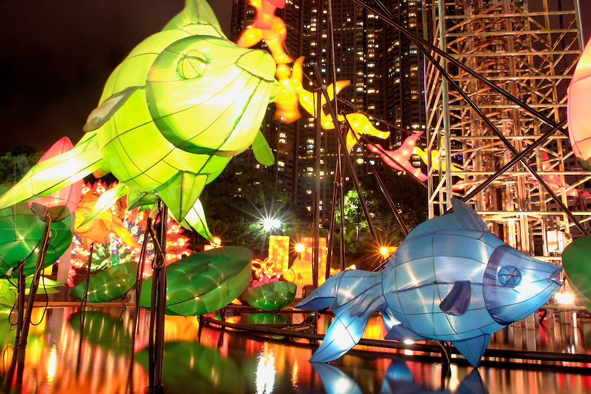 Illuminated fish and flower lanterns above pond displayed in celebration of Mid-Autumn Festival, Kowloon Park, Tsim Sha Tsui, Kowloon, Hong Kong SAR, China, Asi
