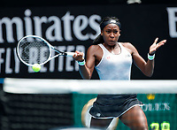 26th January 2020; Melbourne Park, Melbourne, Victoria, Australia; Australian Open Tennis, Day 7; Coco Gauff of USA during a match against Sofia Kenin of USA