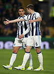 WBA's Jake Livermore and Jonny Evans have words during the Premier League match at Vicarage Road Stadium, London. Picture date: April 4th, 2017. Pic credit should read: David Klein/Sportimage