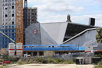 Work continues on the flats being built alongside Brentford Community Stadium, the new home of Brentford FC. London Irish RFU will also be playing at the stadium in the future during Brentford vs Swansea City, Sky Bet EFL Championship Play-Off Semi-Final 2nd Leg Football at Griffin Park on 29th July 2020