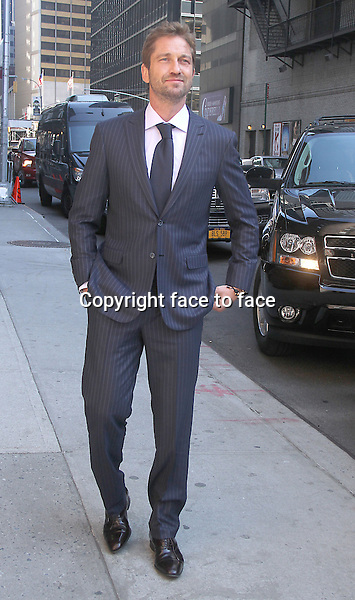 NEW YORK, NY - MARCH 14: Gerard Butler at Late Show With David Letterman in New York City. March 14, 2013...Credit: MediaPunch/face to face..- Germany, Austria, Switzerland, Eastern Europe, Australia, UK, USA, Taiwan, Singapore, China, Malaysia and Thailand rights only -