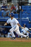 Dunedin Blue Jays catcher Jorge Saez (12) at bat during a game against the Bradenton Marauders on April 14, 2015 at Florida Auto Exchange Stadium in Dunedin, Florida.  Bradenton defeated Dunedin 7-1.  (Mike Janes/Four Seam Images)