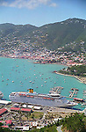 Cruise ship and pier view from a hilltop in Charlotte Amalie on the US Virgin Island of St Thomas