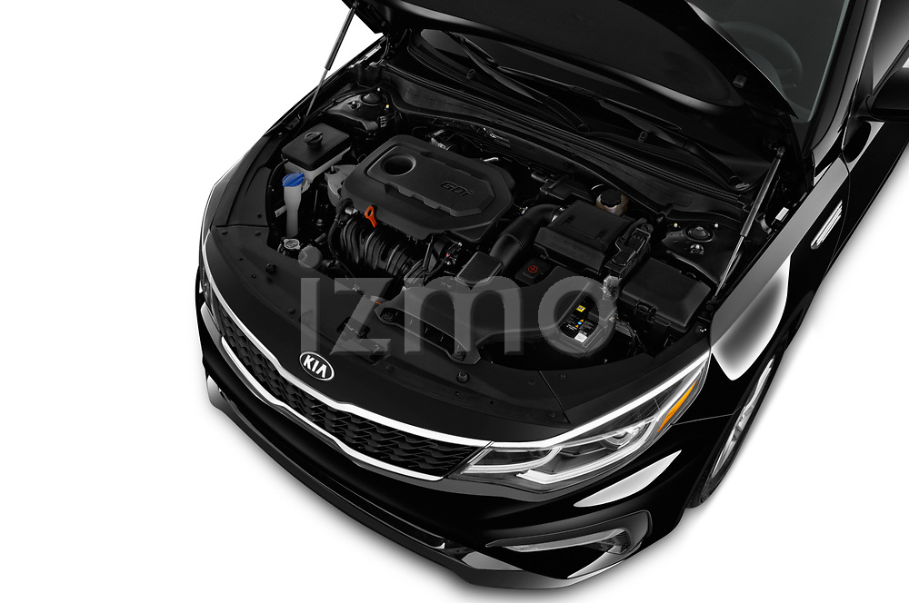 Car stock 2019 KIA Optima LX 4 Door Sedan engine high angle detail view