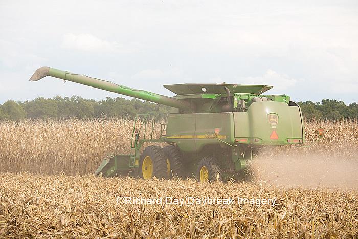 63801-07014 Farmer harvesting corn, Marion Co., IL
