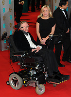 Stephen Hawking and Jane Wilde arrive at the 67th annual EE British Academy Film Awards, Baftas, at Royal Opera House in London, Great Britain, on 08 February 2015. Photo: Hubert Boesl /dpa /MediaPunch ***FOR USA ONLY***